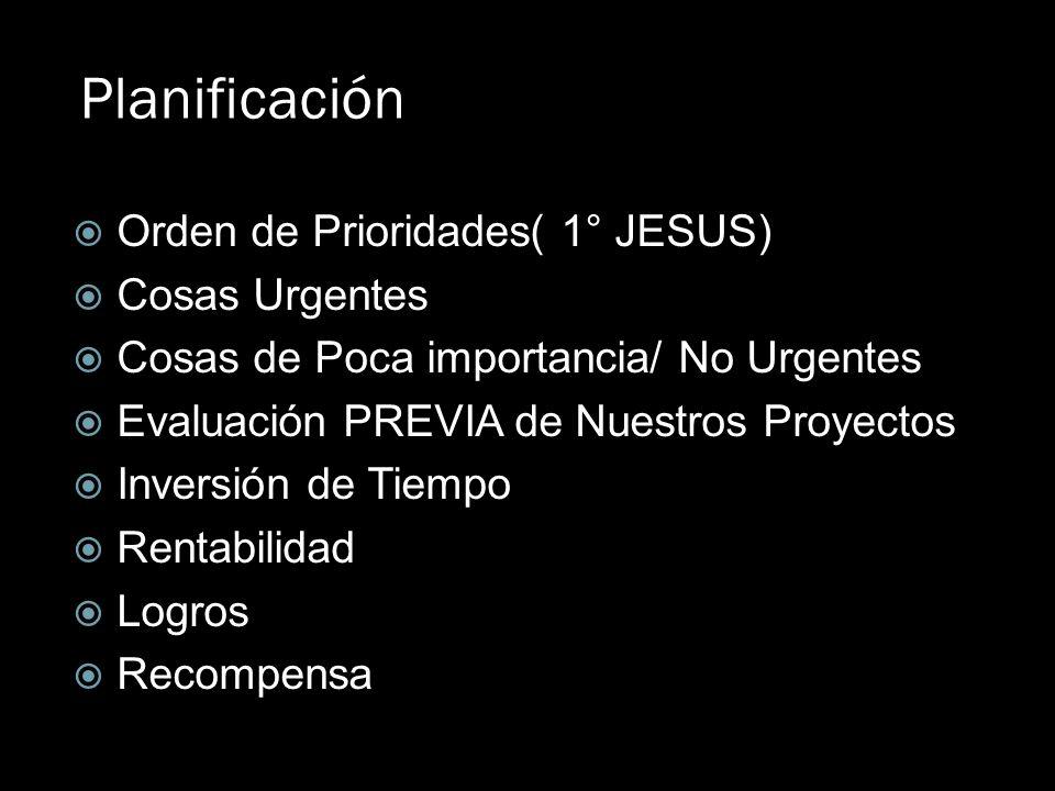 Planificación Orden de Prioridades( 1° JESUS) Cosas Urgentes Cosas de Poca importancia/ No Urgentes Evaluación PREVIA de Nuestros Proyectos Inversión