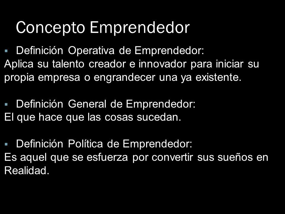 Concepto Emprendedor Definición Operativa de Emprendedor: Aplica su talento creador e innovador para iniciar su propia empresa o engrandecer una ya ex