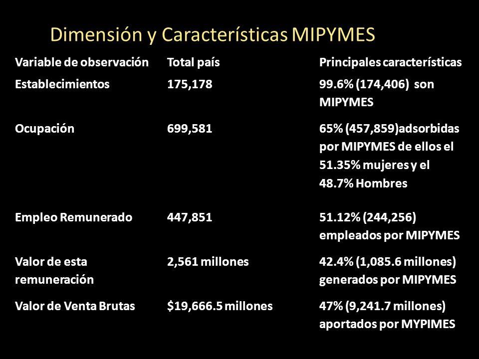 Variable de observaciónTotal paísPrincipales características Establecimientos175,178 99.6% (174,406) son MIPYMES Ocupación699,581 65% (457,859)adsorbi