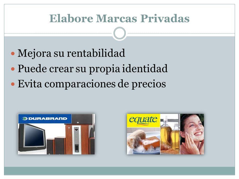 Elabore Marcas Privadas Mejora su rentabilidad Puede crear su propia identidad Evita comparaciones de precios