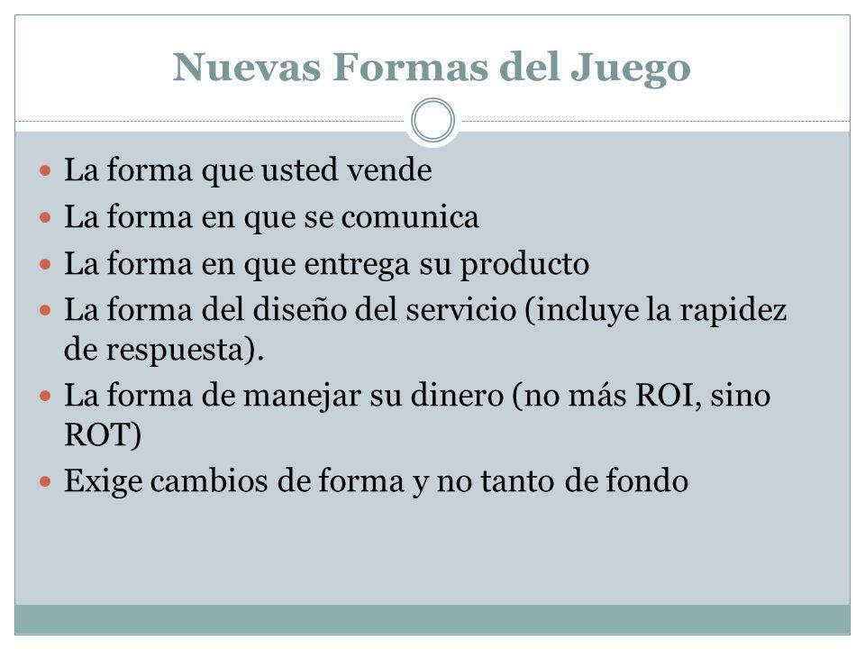 Nuevas Formas del Juego La forma que usted vende La forma en que se comunica La forma en que entrega su producto La forma del diseño del servicio (inc