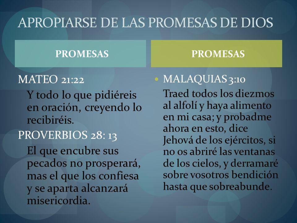 PROMESAS MATEO 21:22 Y todo lo que pidiéreis en oración, creyendo lo recibiréis. PROVERBIOS 28: 13 El que encubre sus pecados no prosperará, mas el qu