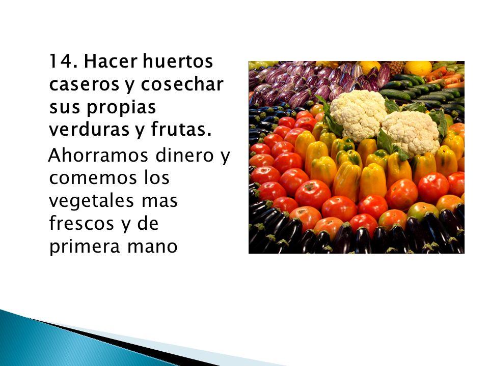 14. Hacer huertos caseros y cosechar sus propias verduras y frutas. Ahorramos dinero y comemos los vegetales mas frescos y de primera mano