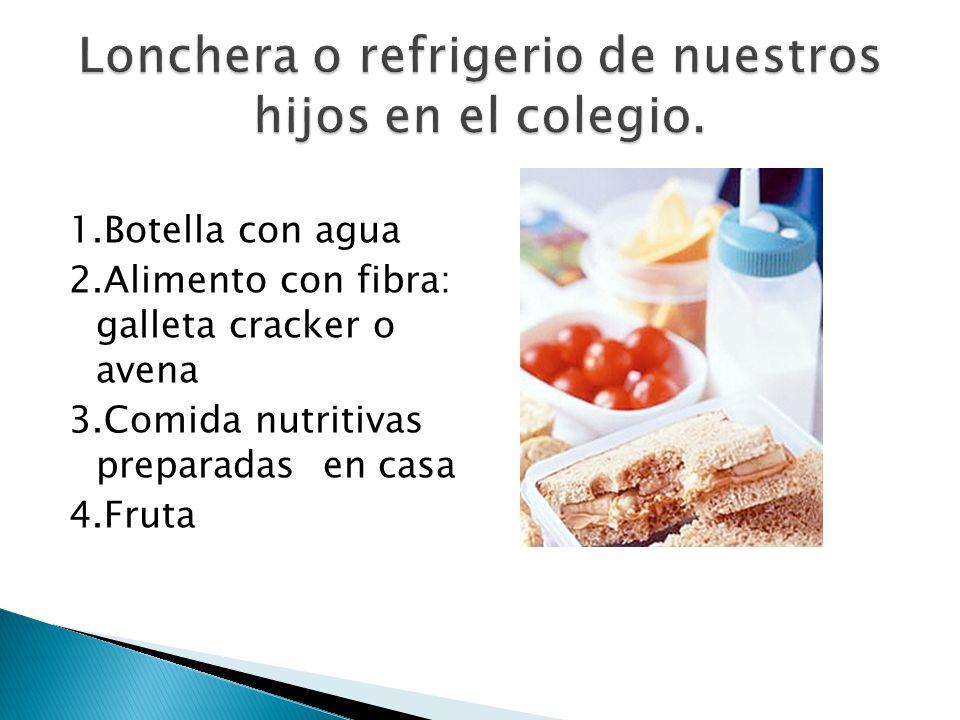 1.Botella con agua 2.Alimento con fibra: galleta cracker o avena 3.Comida nutritivas preparadas en casa 4.Fruta