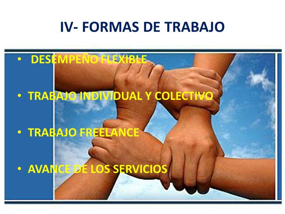 IV- FORMAS DE TRABAJO DESEMPEÑO FLEXIBLE TRABAJO INDIVIDUAL Y COLECTIVO TRABAJO FREELANCE AVANCE DE LOS SERVICIOS