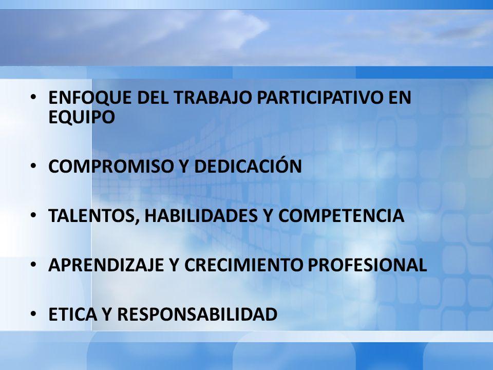 ENFOQUE DEL TRABAJO PARTICIPATIVO EN EQUIPO COMPROMISO Y DEDICACIÓN TALENTOS, HABILIDADES Y COMPETENCIA APRENDIZAJE Y CRECIMIENTO PROFESIONAL ETICA Y