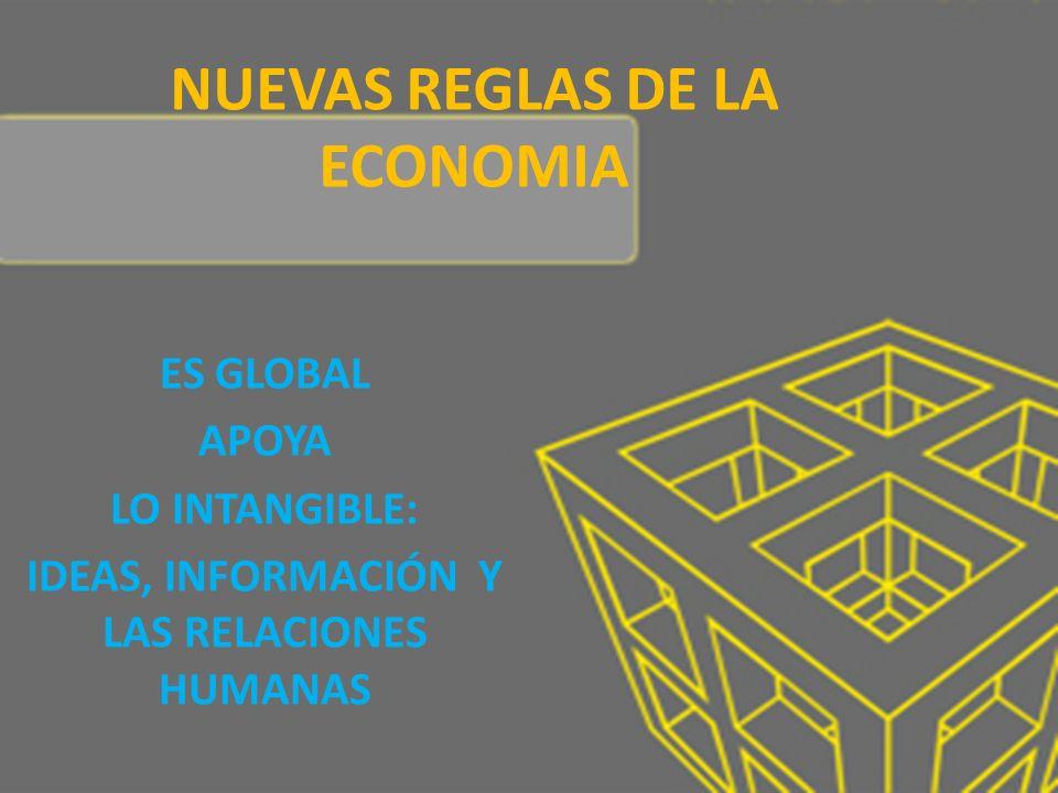 NUEVAS REGLAS DE LA ECONOMIA ES GLOBAL APOYA LO INTANGIBLE: IDEAS, INFORMACIÓN Y LAS RELACIONES HUMANAS