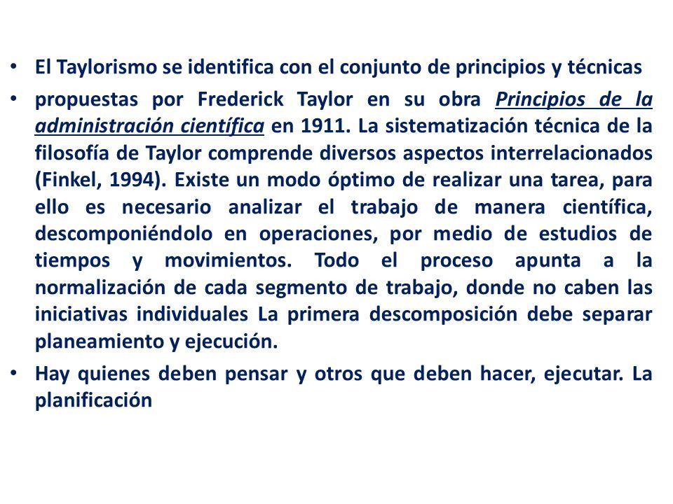 El Taylorismo se identifica con el conjunto de principios y técnicas propuestas por Frederick Taylor en su obra Principios de la administración cientí