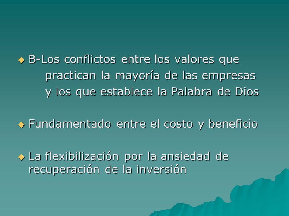 B-Los conflictos entre los valores que B-Los conflictos entre los valores que practican la mayoría de las empresas practican la mayoría de las empresa
