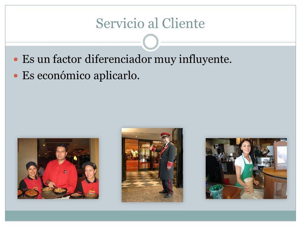 Servicio al Cliente Es un factor diferenciador muy influyente. Es económico aplicarlo.