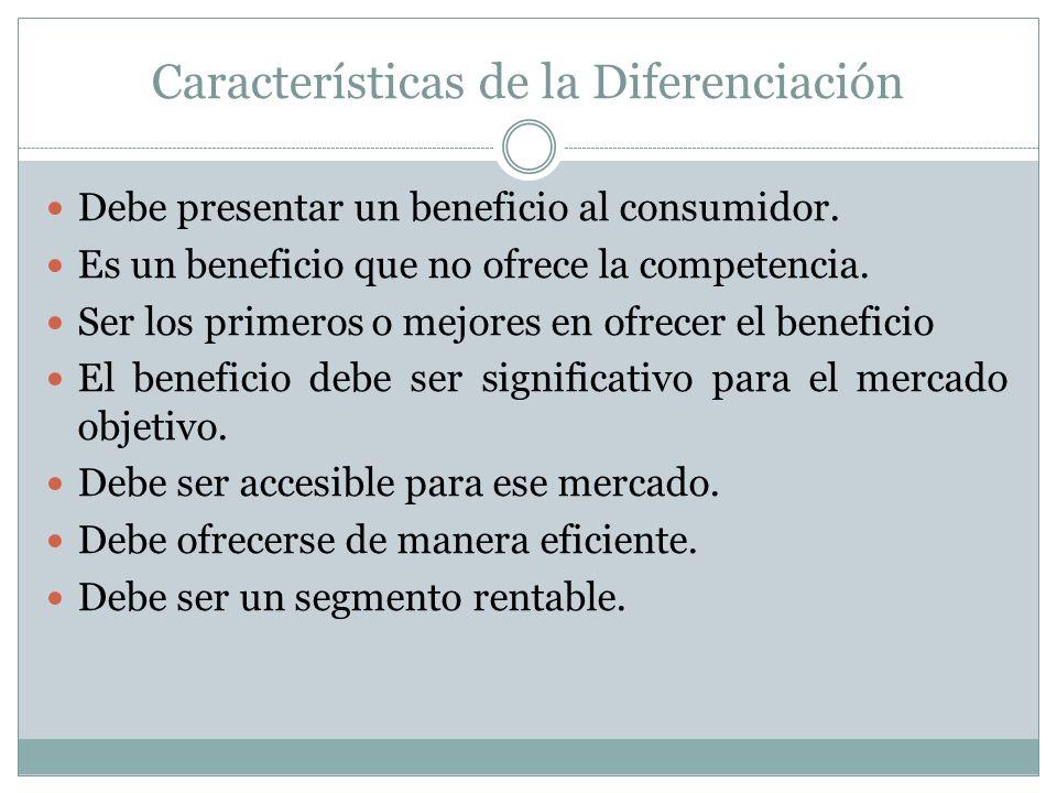Características de la Diferenciación Debe presentar un beneficio al consumidor. Es un beneficio que no ofrece la competencia. Ser los primeros o mejor