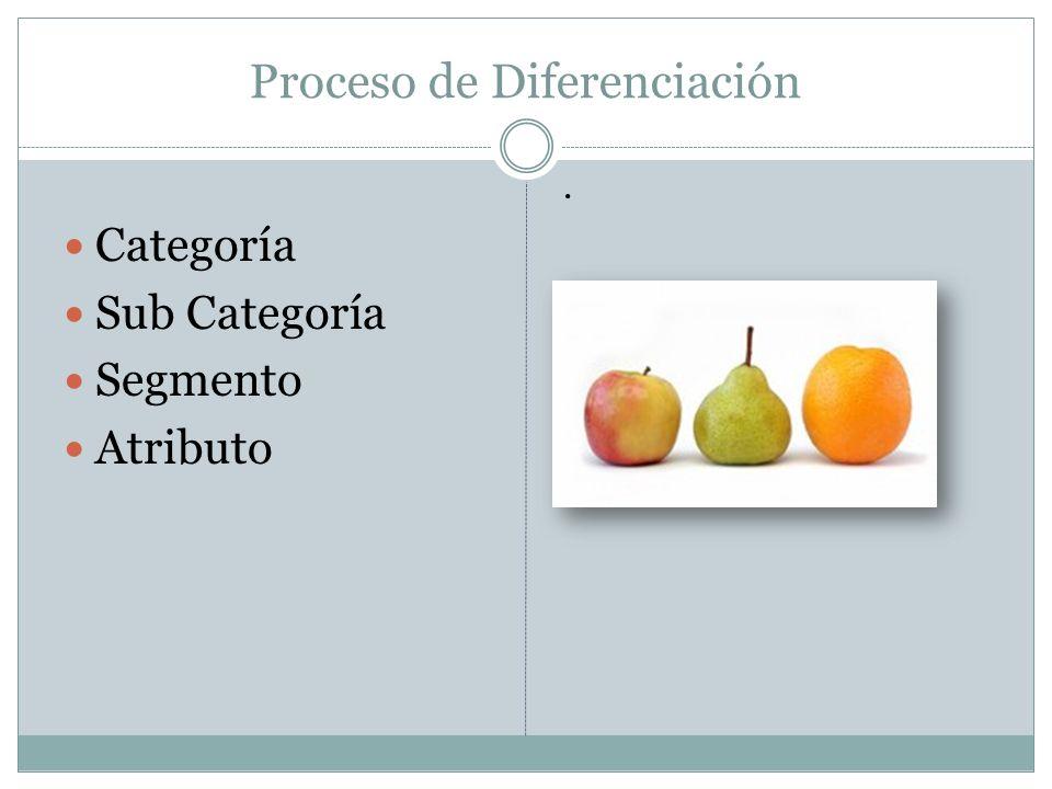 Proceso de Diferenciación Categoría Sub Categoría Segmento Atributo.