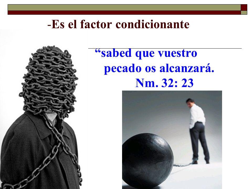-Es el factor condicionante sabed que vuestro pecado os alcanzará. Nm. 32: 23