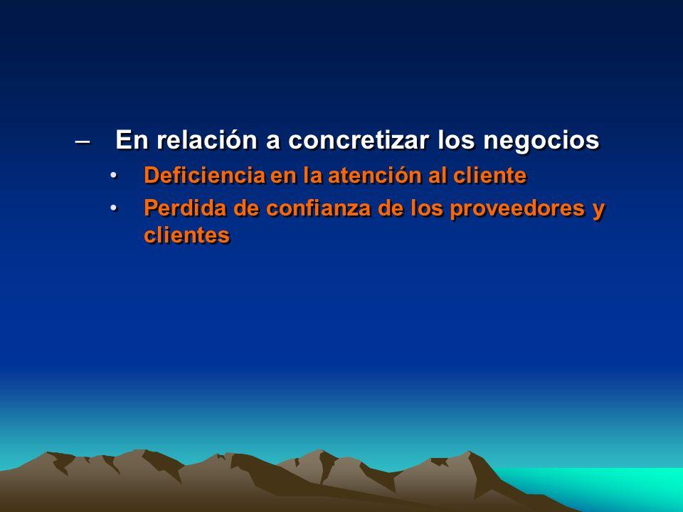 –En relación a concretizar los negocios Deficiencia en la atención al cliente Perdida de confianza de los proveedores y clientes –En relación a concre