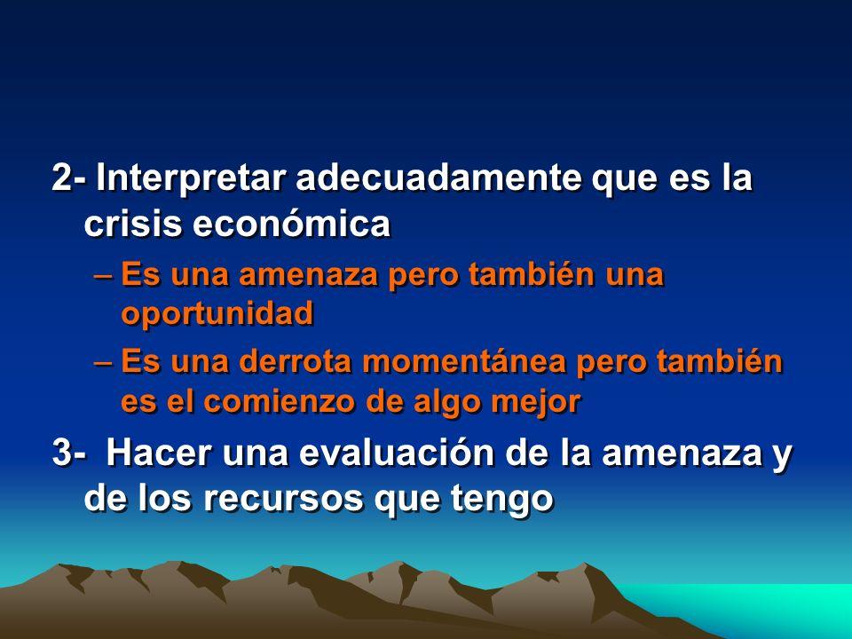 2- Interpretar adecuadamente que es la crisis económica –Es una amenaza pero también una oportunidad –Es una derrota momentánea pero también es el com