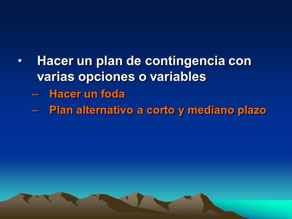 Hacer un plan de contingencia con varias opciones o variables –Hacer un foda –Plan alternativo a corto y mediano plazo Hacer un plan de contingencia c
