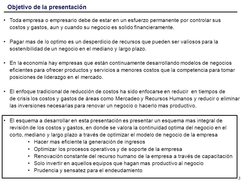 Agenda de Temas Entorno complicado y complejo Paradigmas de la reducción de costos y necesidad de un nuevo enfoque Acciones para reducir costos y ser más competitivos en el mercado Implementación y seguimiento de un proceso continuo de productividad Oportunidades y conclusiones 4