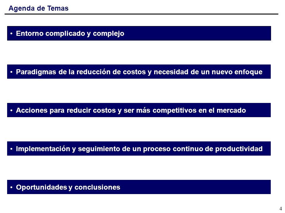Agenda de Temas Entorno complicado y complejo Paradigmas de la reducción de costos y necesidad de un nuevo enfoque Acciones para reducir costos y ser más competitivos en el mercado Implementación y seguimiento de un proceso continuo de productividad Oportunidades y conclusiones 5