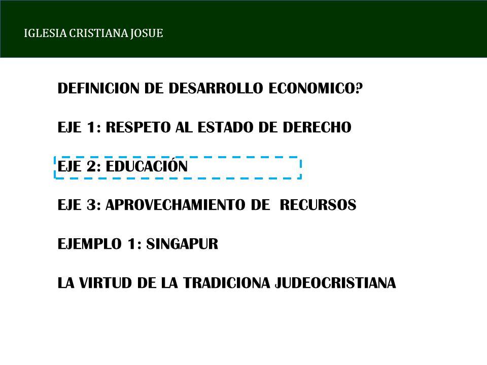 IGLESIA CRISTIANA JOSUE DEFINICION DE DESARROLLO ECONOMICO? EJE 1: RESPETO AL ESTADO DE DERECHO EJE 2: EDUCACIÓN EJE 3: APROVECHAMIENTO DE RECURSOS EJ