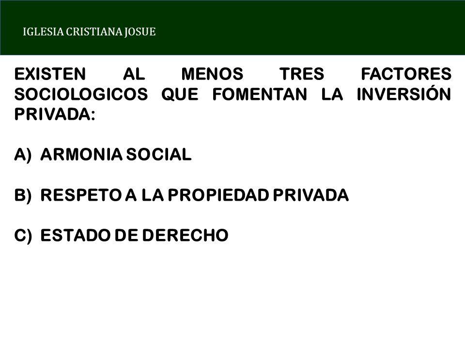 IGLESIA CRISTIANA JOSUE EXISTEN AL MENOS TRES FACTORES SOCIOLOGICOS QUE FOMENTAN LA INVERSIÓN PRIVADA: A)ARMONIA SOCIAL B)RESPETO A LA PROPIEDAD PRIVADA C)ESTADO DE DERECHO