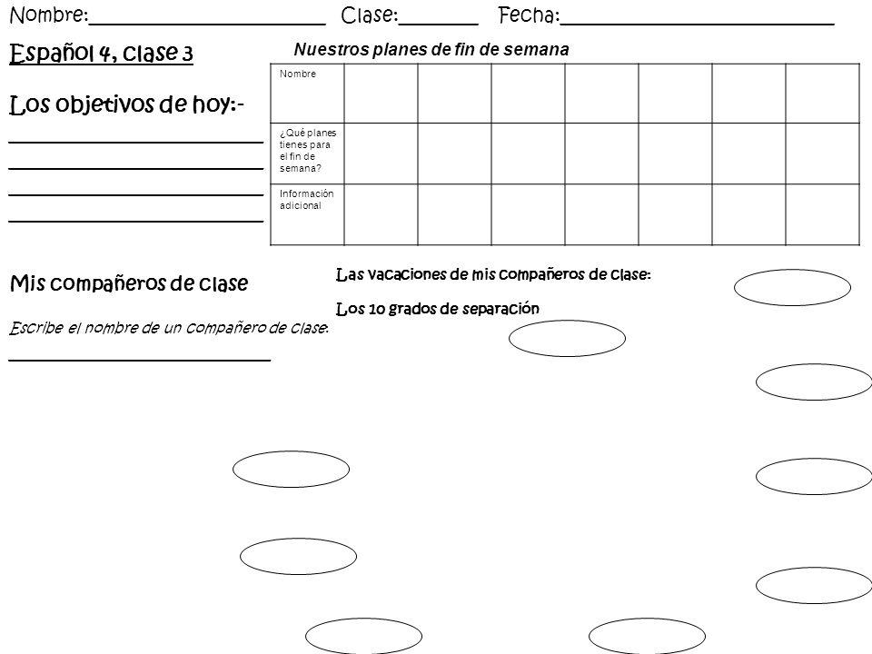 Español 4, clase 3 Los objetivos de hoy:- _______________________ _______________________ Nombre:________________________ Clase:________ Fecha:_______
