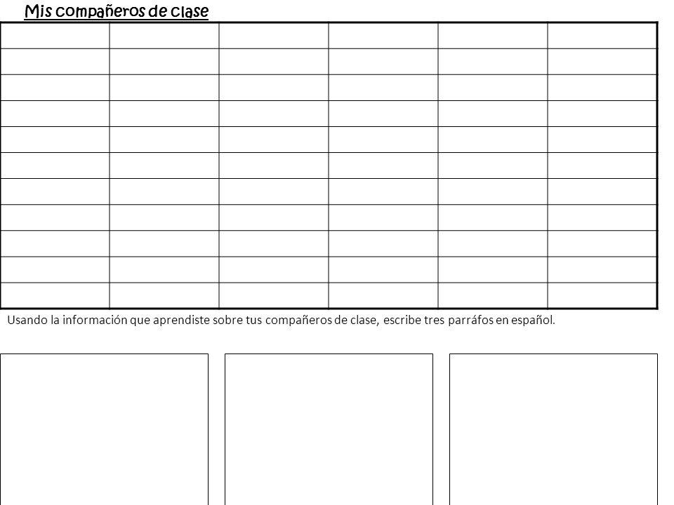 Mis compañeros de clase Usando la información que aprendiste sobre tus compañeros de clase, escribe tres parráfos en español.