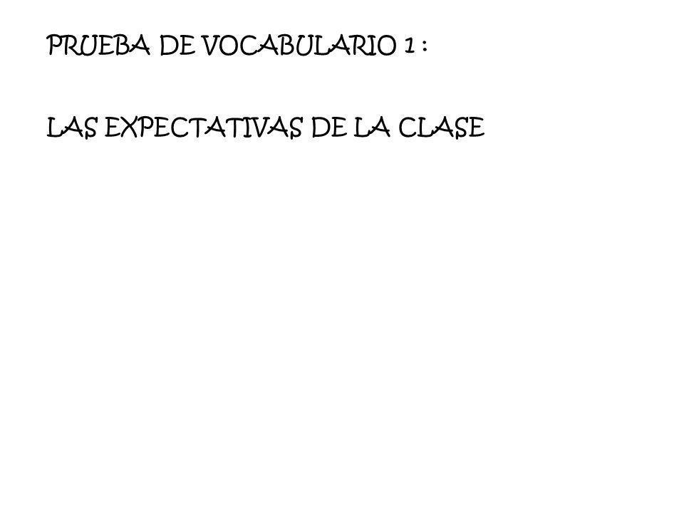 PRUEBA DE VOCABULARIO 1 : LAS EXPECTATIVAS DE LA CLASE