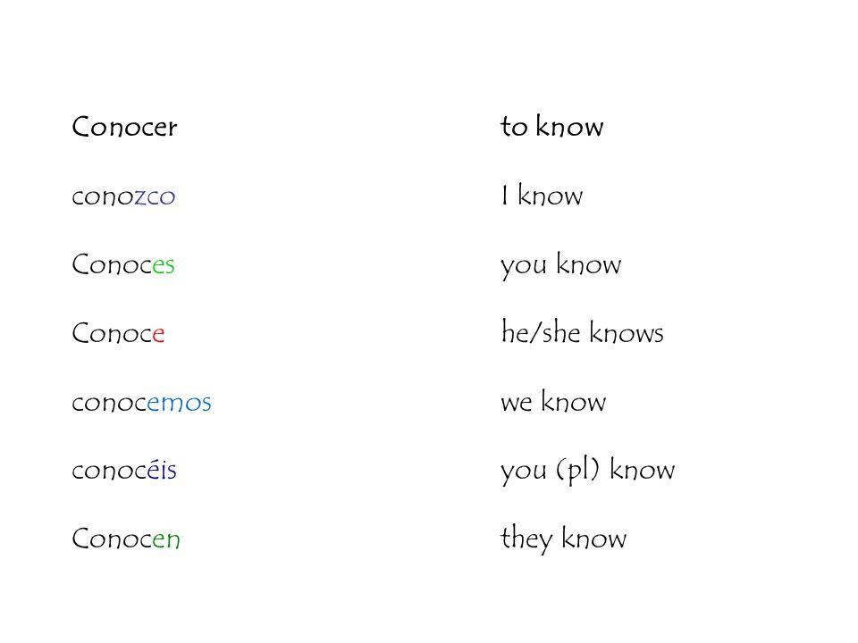 Conocerto know conozcoI know Conocesyou know Conocehe/she knows conocemos we know conocéisyou (pl) know Conocen they know