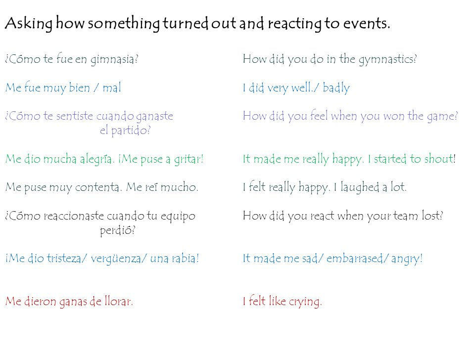 Asking how something turned out and reacting to events. ¿Cómo te fue en gimnasia?How did you do in the gymnastics? Me fue muy bien / malI did very wel