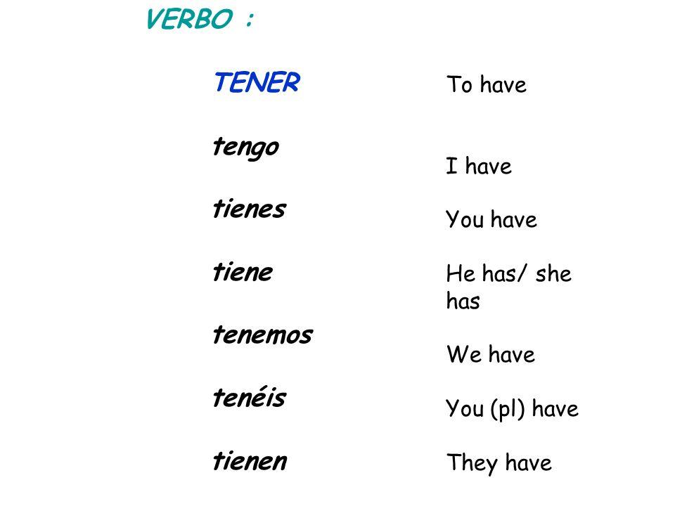 VERBO : TENER tengo tienes tiene tenemos tenéis tienen To have I have You have He has/ she has We have You (pl) have They have