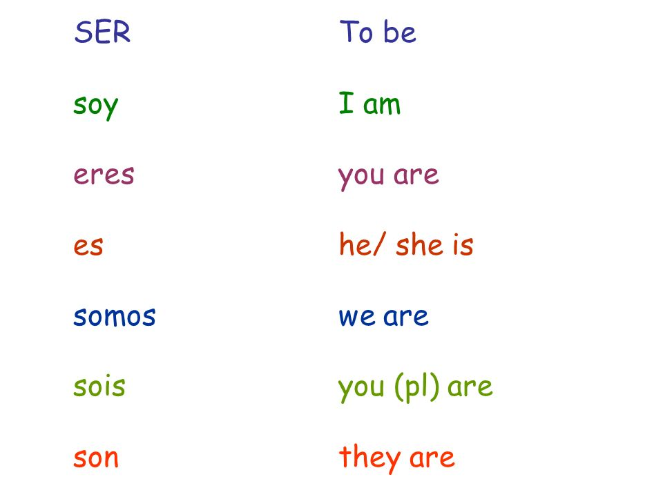 SERTo be soyI am eresyou are eshe/ she is somoswe are soisyou (pl) are sonthey are