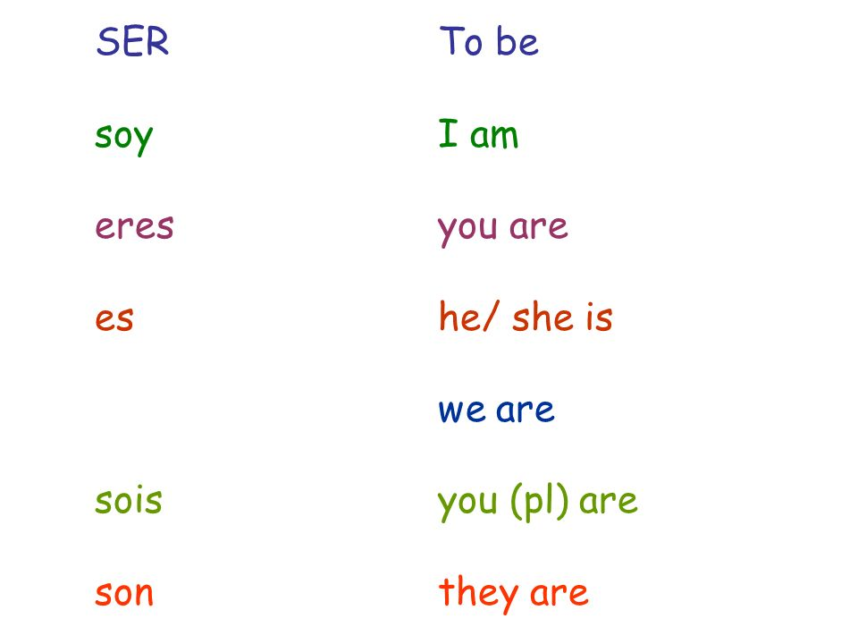 SERTo be soyI am eresyou are eshe/ she is we are soisyou (pl) are sonthey are