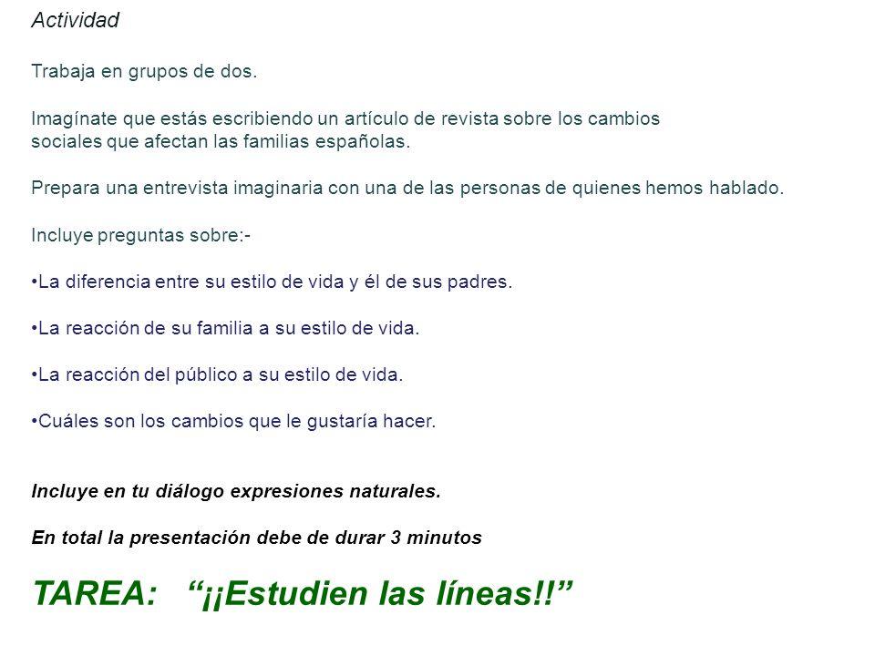 Español 4, clase 12 Los objetivos de hoy:- ________________________ ________________________ Nombre:________________________ Clase:________ Fecha:____________________________ La familia de un compañero de clase Resumenes de las entrevistas de mis compañeros de clase