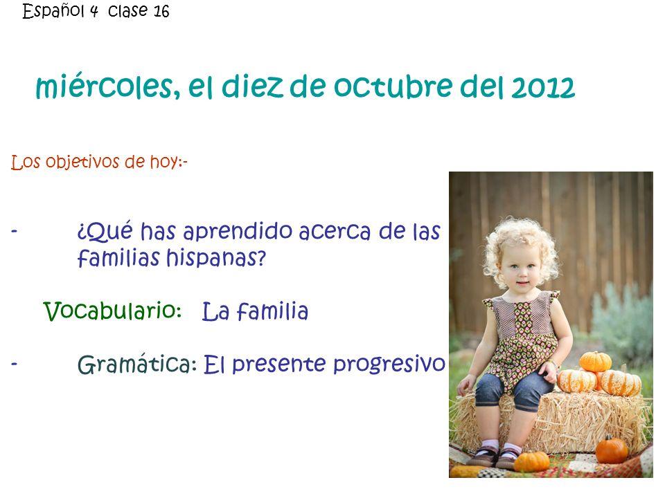 ¿Qué has aprendido acerca de las familias hispanas?