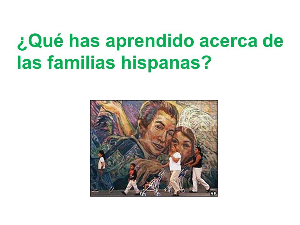 ¿Qué has aprendido acerca de las familias hispanas