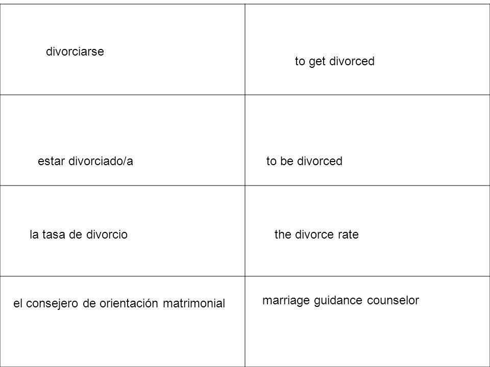 iniciar los procedimientos del divorcio to initiate divorce proceedings el alejamiento estrangement convivir to live together un proceso penoso a painful process