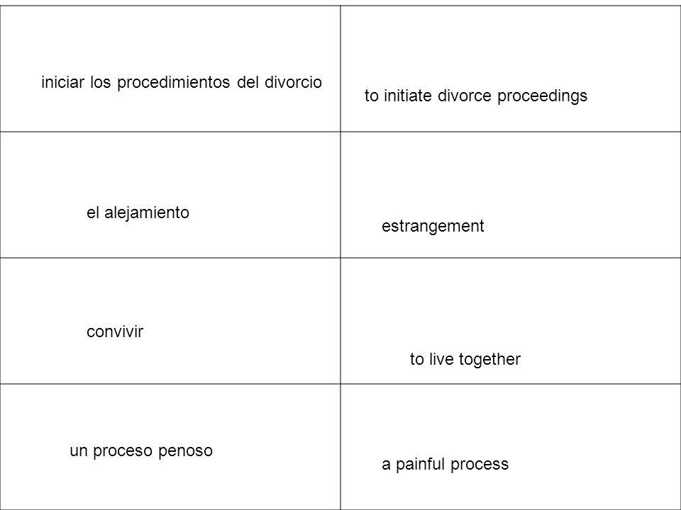 la ruptura matrimonial marriage break-up ser incompatiblesto be incompatible cuando un matrimonio se deshace when a marriage breaks up la separación separation