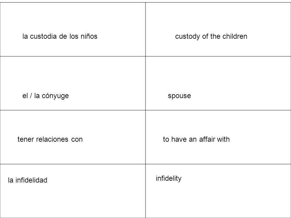 to remarryvolver a casarse estar embarazada to be pregnant mimar a un niño to spoil a child una familia unida a close family