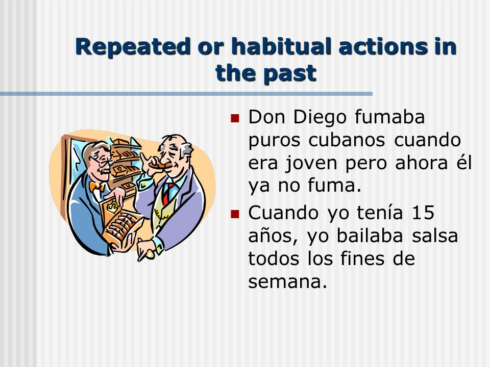 Imperfect Next lets review some of the main uses of the imperfect. This verb tense is used when we talk about the past: actions that happened/used to