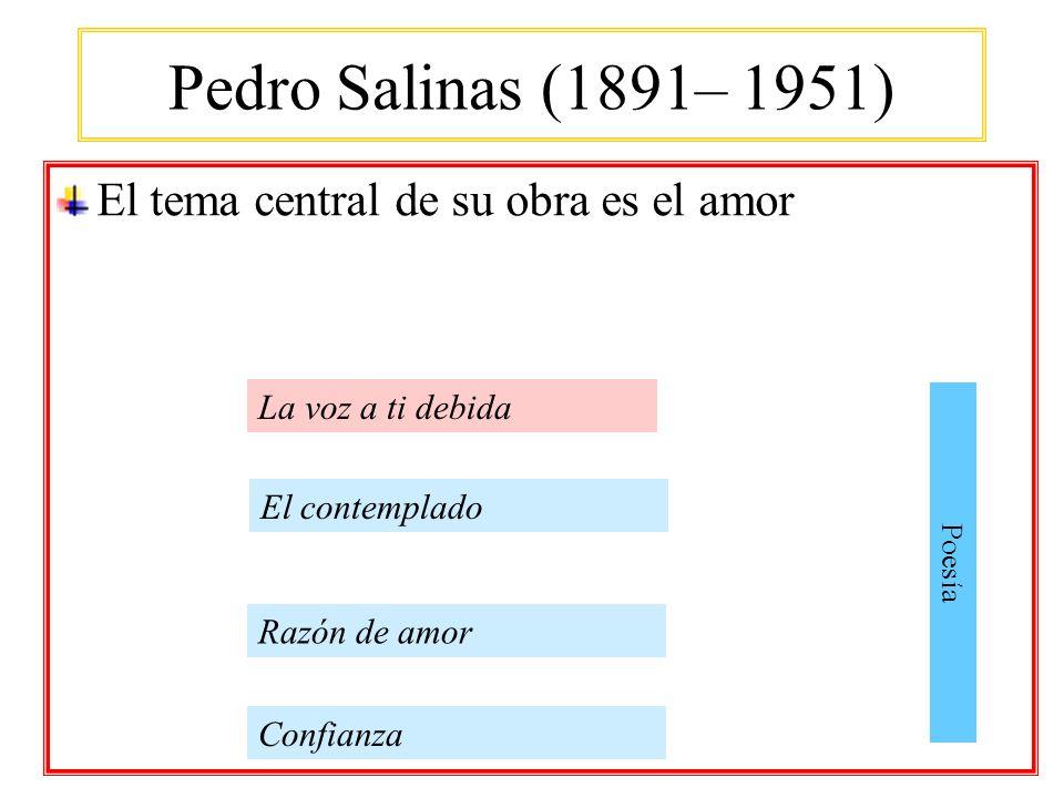 Pedro Salinas (1891– 1951) El tema central de su obra es el amor Confianza La voz a ti debida Poesía Razón de amor El contemplado