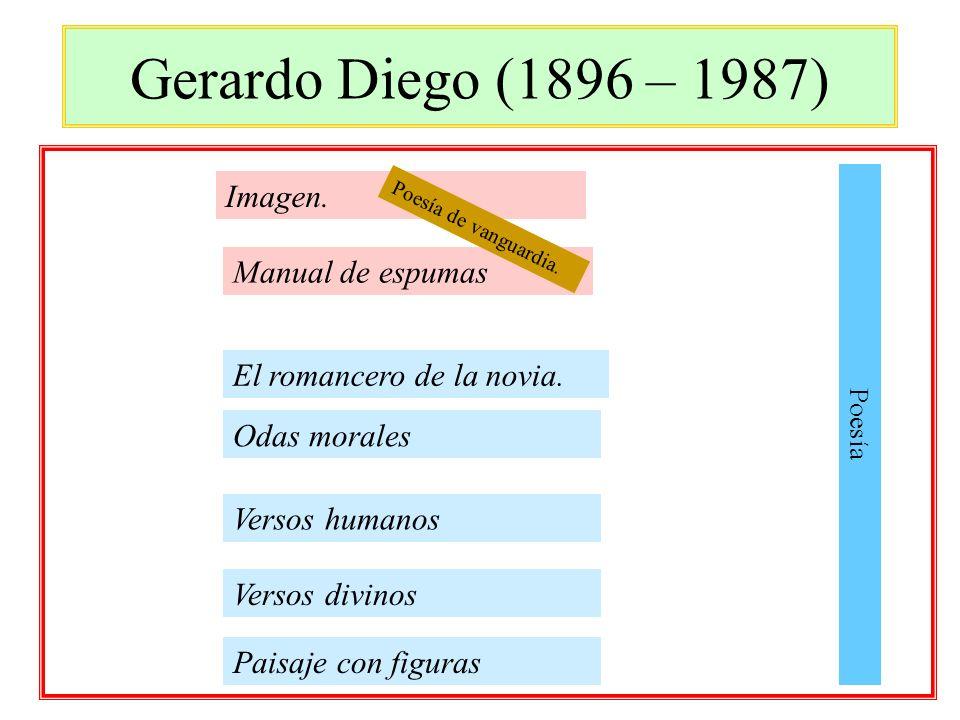 Gerardo Diego (1896 – 1987) Imagen. El romancero de la novia. Versos divinos Paisaje con figuras Manual de espumas Poesía Odas morales Versos humanos