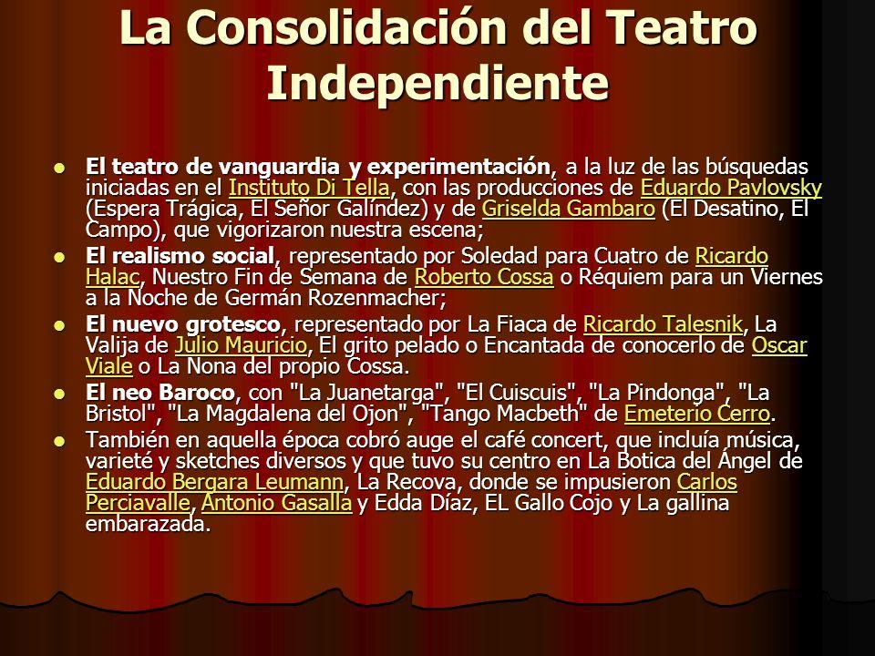 La Consolidación del Teatro Independiente El teatro de vanguardia y experimentación, a la luz de las búsquedas iniciadas en el Instituto Di Tella, con
