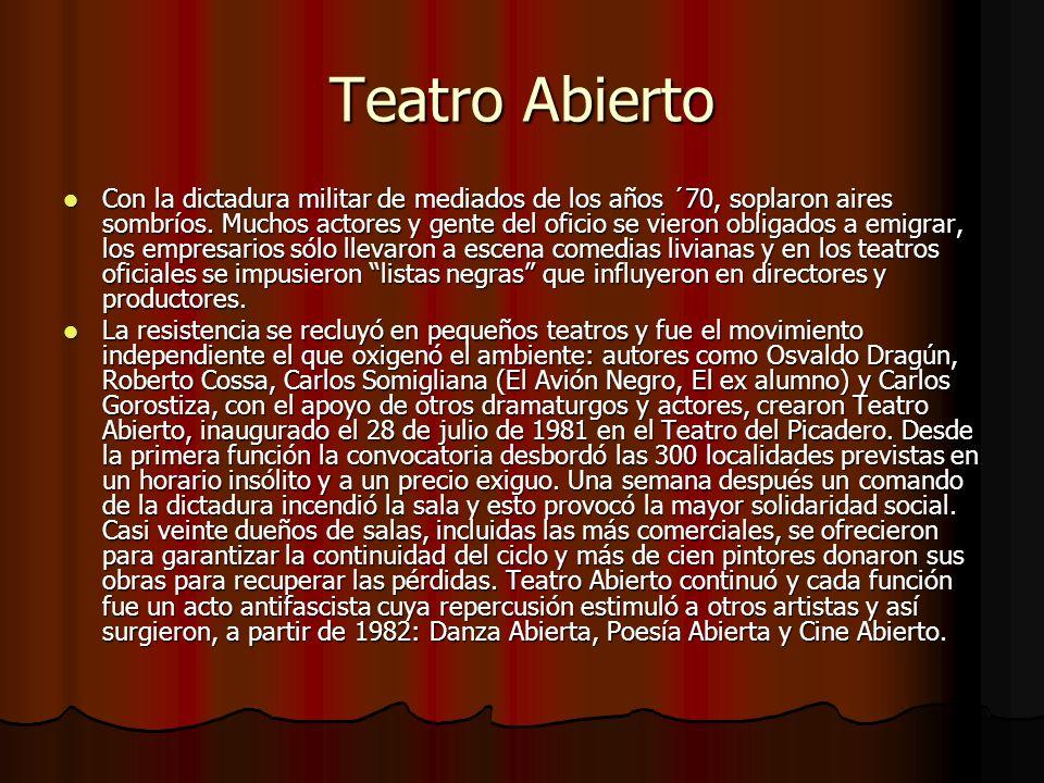 Teatro Abierto Con la dictadura militar de mediados de los años ´70, soplaron aires sombríos. Muchos actores y gente del oficio se vieron obligados a