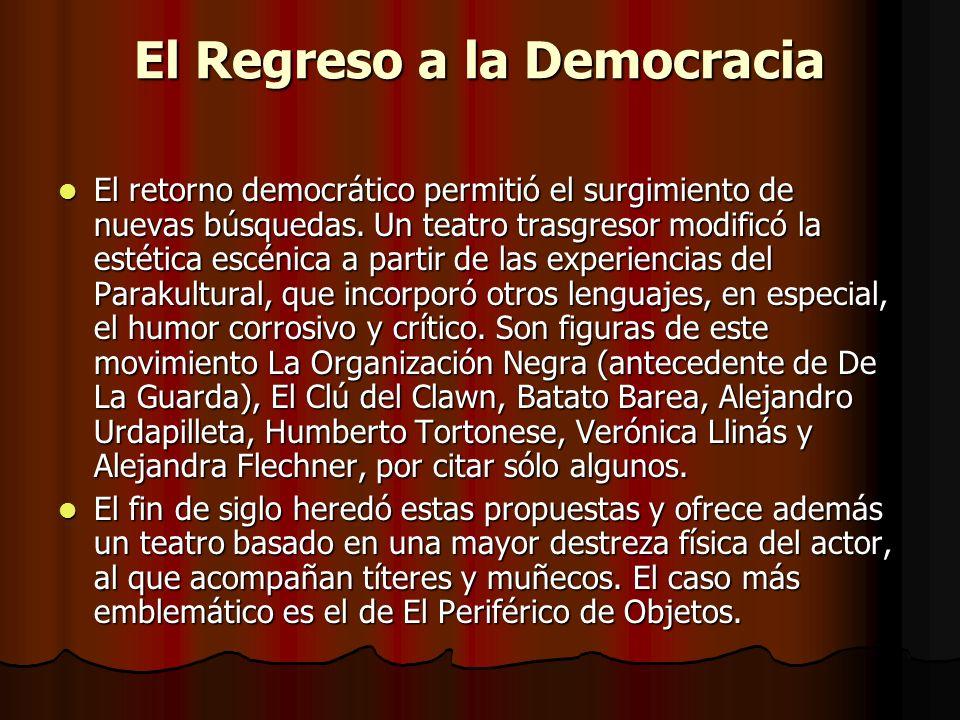 El Regreso a la Democracia El retorno democrático permitió el surgimiento de nuevas búsquedas. Un teatro trasgresor modificó la estética escénica a pa