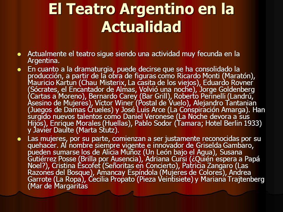 El Teatro Argentino en la Actualidad Actualmente el teatro sigue siendo una actividad muy fecunda en la Argentina. Actualmente el teatro sigue siendo
