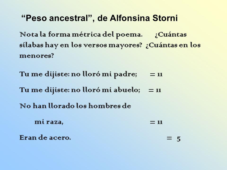 Nota la forma métrica del poema. ¿Cuántas sílabas hay en los versos mayores? ¿Cuántas en los menores? Peso ancestral, de Alfonsina Storni Tu me dijist