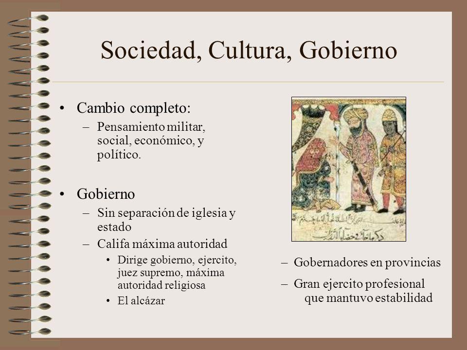 Sociedad, Cultura, Gobierno Cambio completo: –Pensamiento militar, social, económico, y político. Gobierno –Sin separación de iglesia y estado –Califa