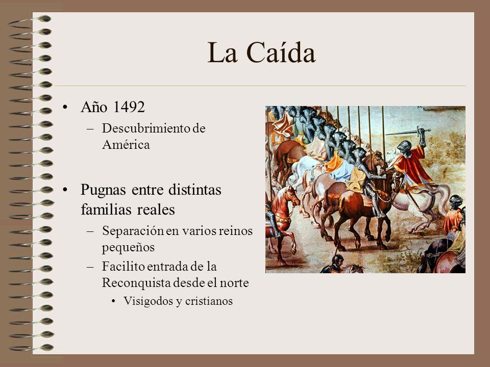 La Caída Año 1492 –Descubrimiento de América Pugnas entre distintas familias reales –Separación en varios reinos pequeños –Facilito entrada de la Reco