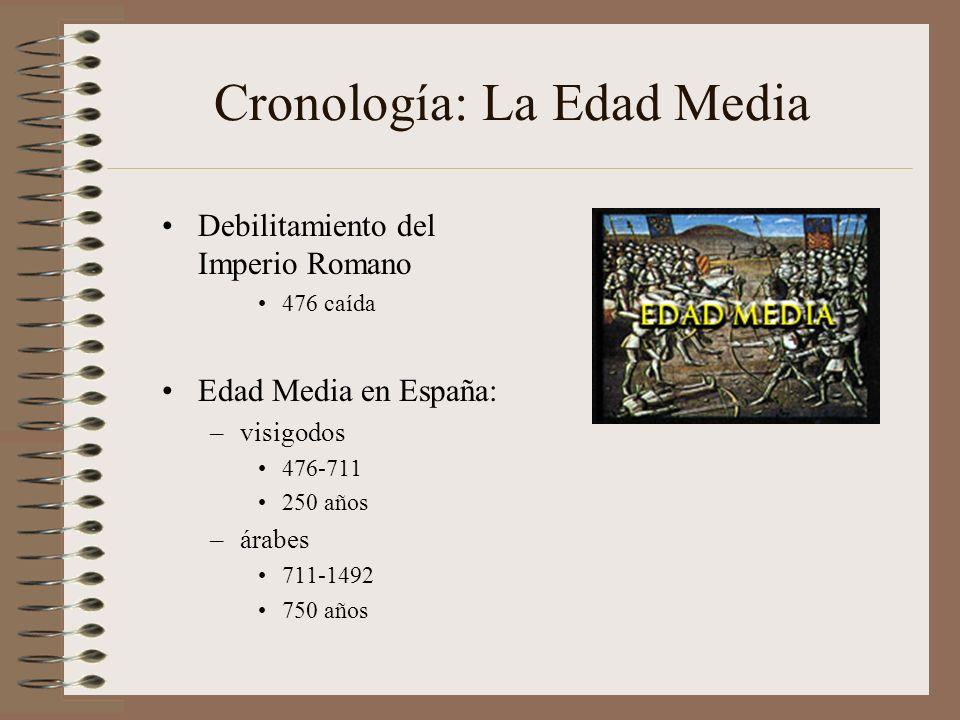 Cronología: La Edad Media Debilitamiento del Imperio Romano 476 caída Edad Media en España: –visigodos 476-711 250 años –árabes 711-1492 750 años