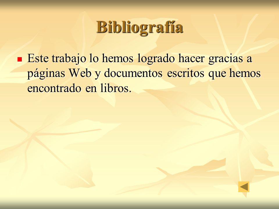 Bibliografía Este trabajo lo hemos logrado hacer gracias a páginas Web y documentos escritos que hemos encontrado en libros. Este trabajo lo hemos log